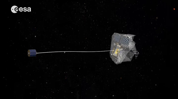ESA is considering using nets to capture derelict satellites for removal from space.