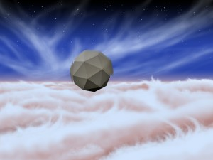 An artist's rendering of a windbot bobbing through the skies of Jupiter.