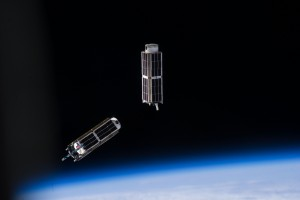 A CubeSat is in a class of research spacecraft called nanosatellites and have a base dimension of 10-centimeters x 10-centimeters x 11-centimeters. Credits: NASA